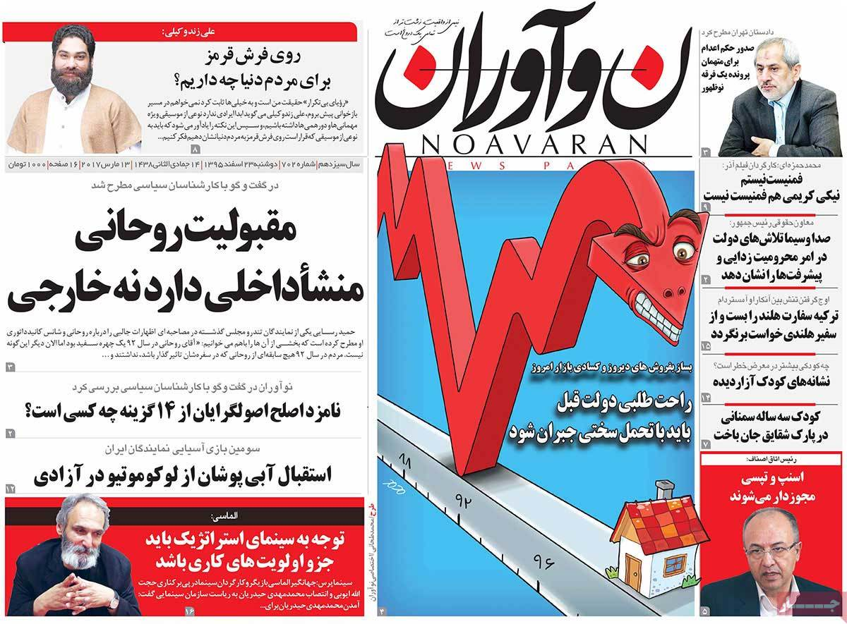 iranian newspaper font pages on March 13 noavaran