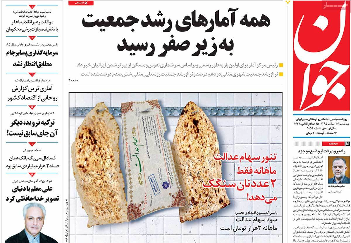 iranian newspaper front pages on march 14 javan