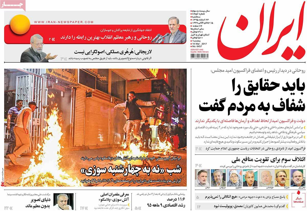 iranian newspaper front pages on march 14 iran