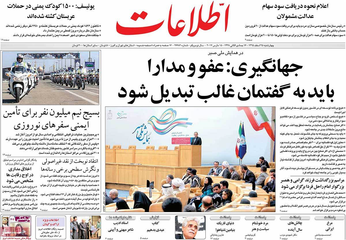 Iranian Newspaper Front Pages on March 15 etelaat