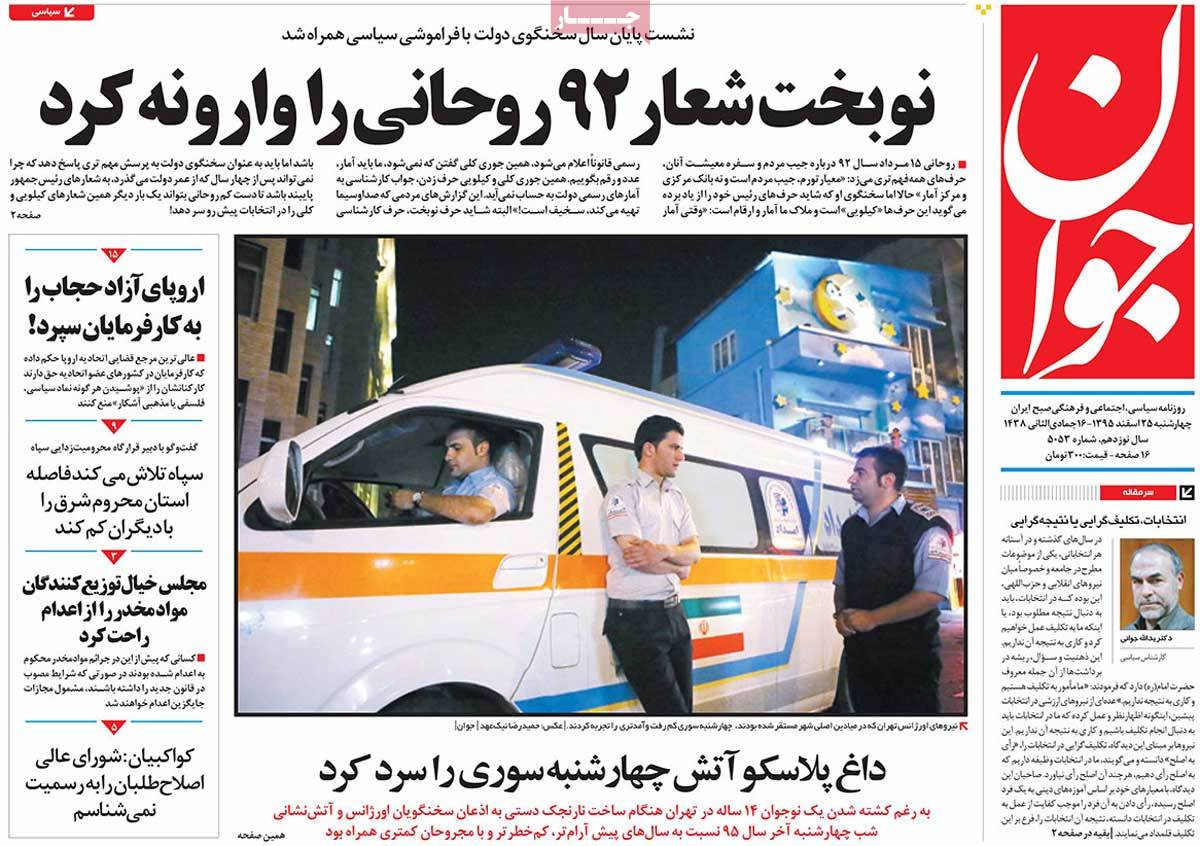 Iranian Newspaper Front Pages on March 15 javan