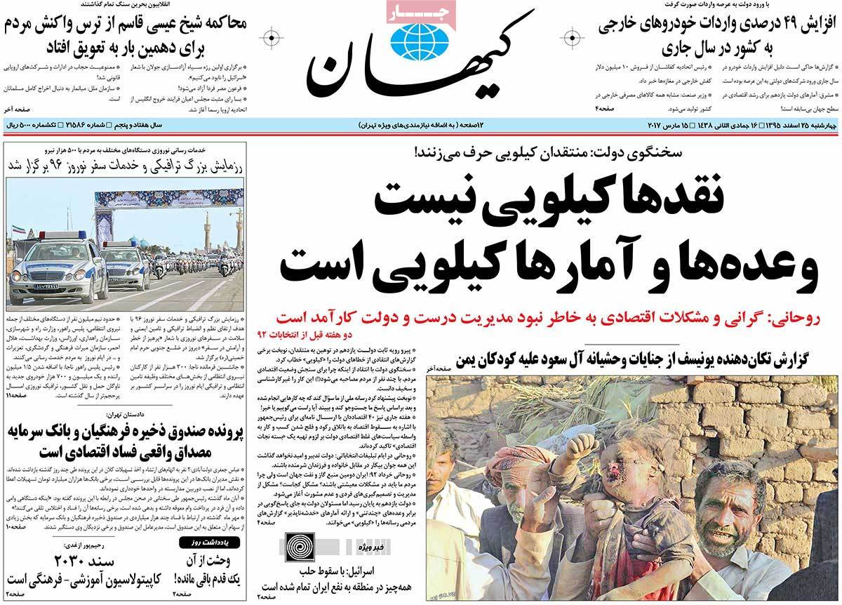 Iranian Newspaper Front Pages on March 15 keyhan