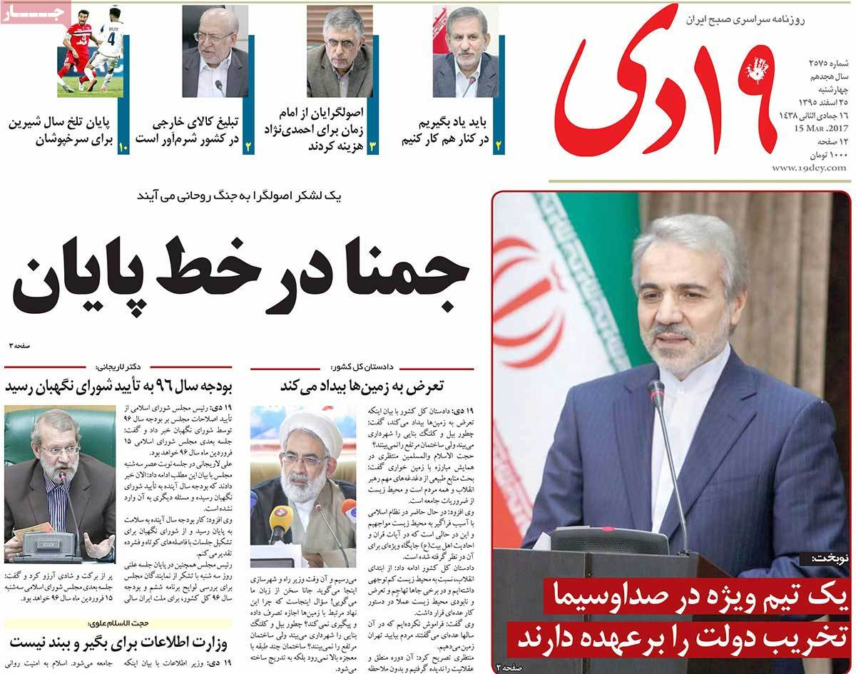 Iranian Newspaper Front Pages on March 15 19 dey