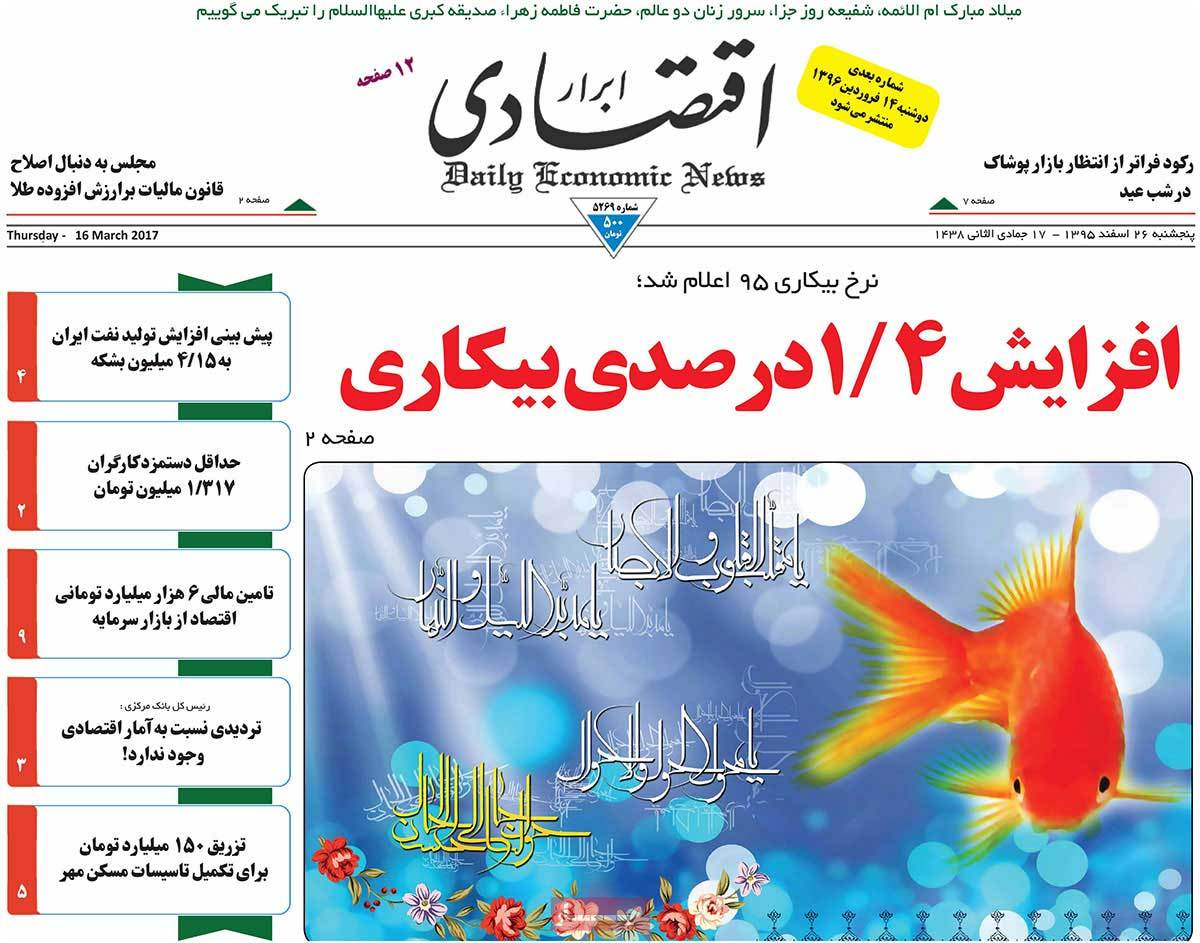 Iranian Newspaper Front Pages on March 16 abrar eghtesadi