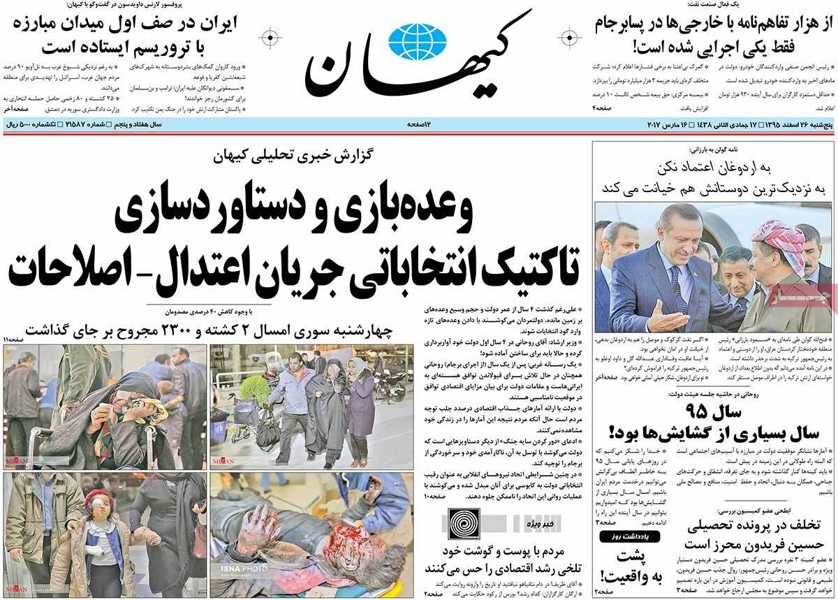 Iranian Newspaper Front Pages on March 16 keyhan