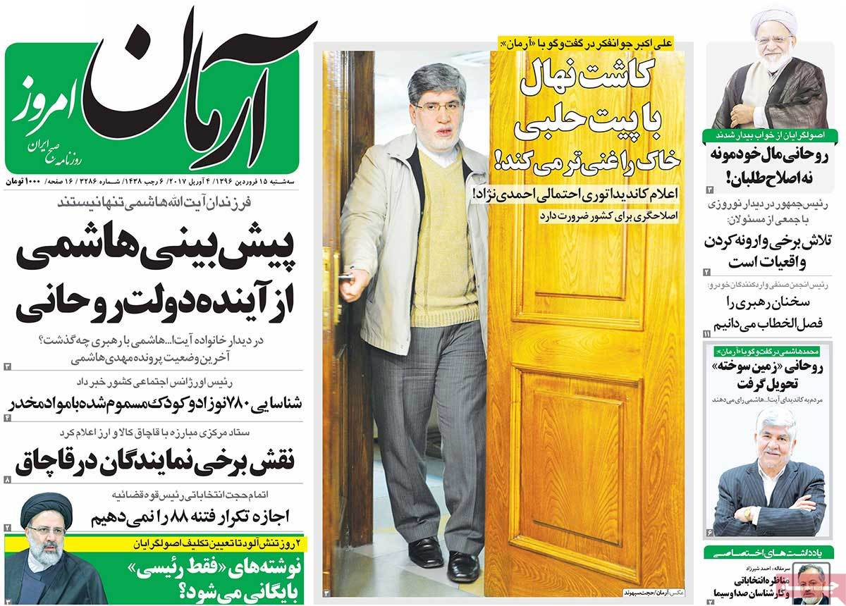 A Look at Iranian Newspaper Front Pages on April 4-arman