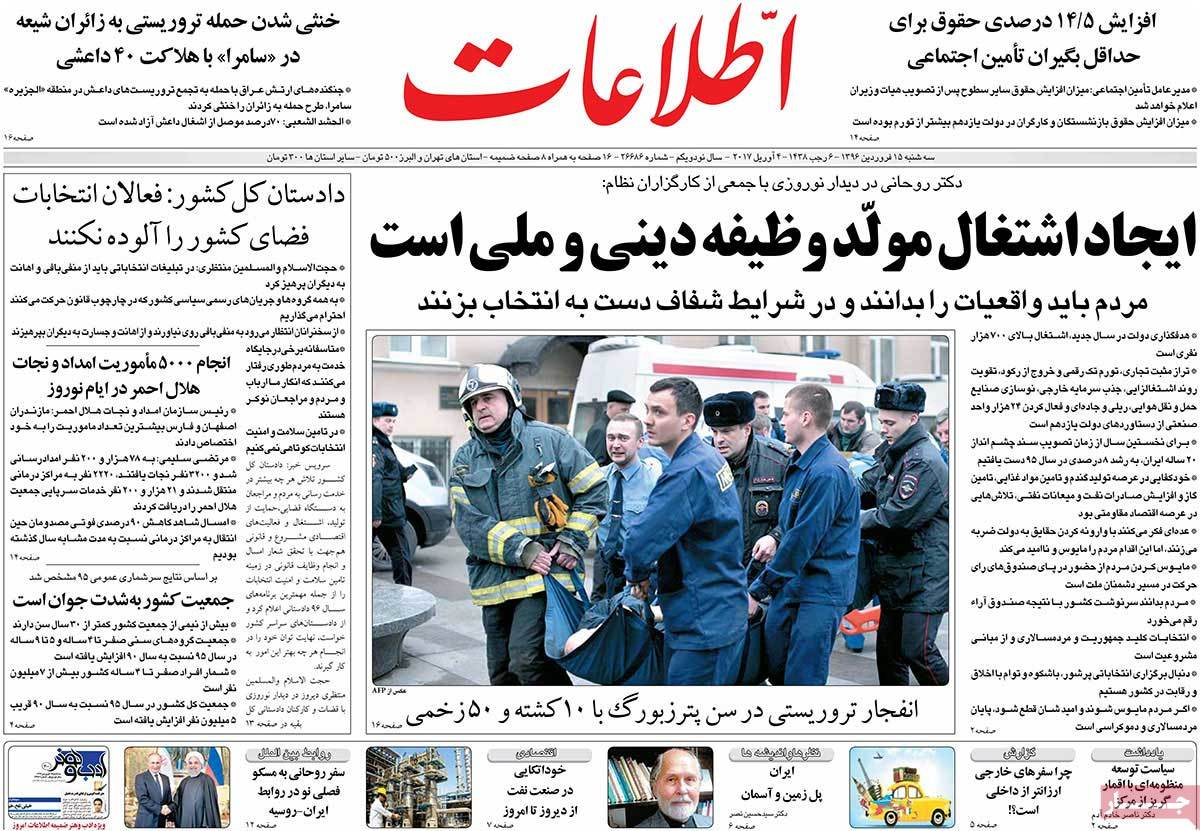 A Look at Iranian Newspaper Front Pages on April 4-ettelaat