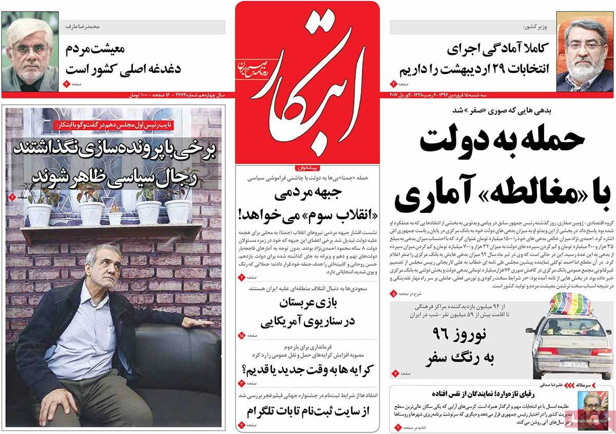 A Look at Iranian Newspaper Front Pages on April 4-ebtekar
