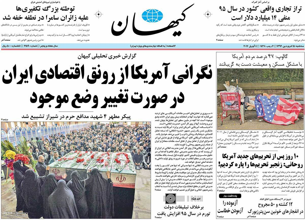 A Look at Iranian Newspaper Front Pages on April 4-kayhan