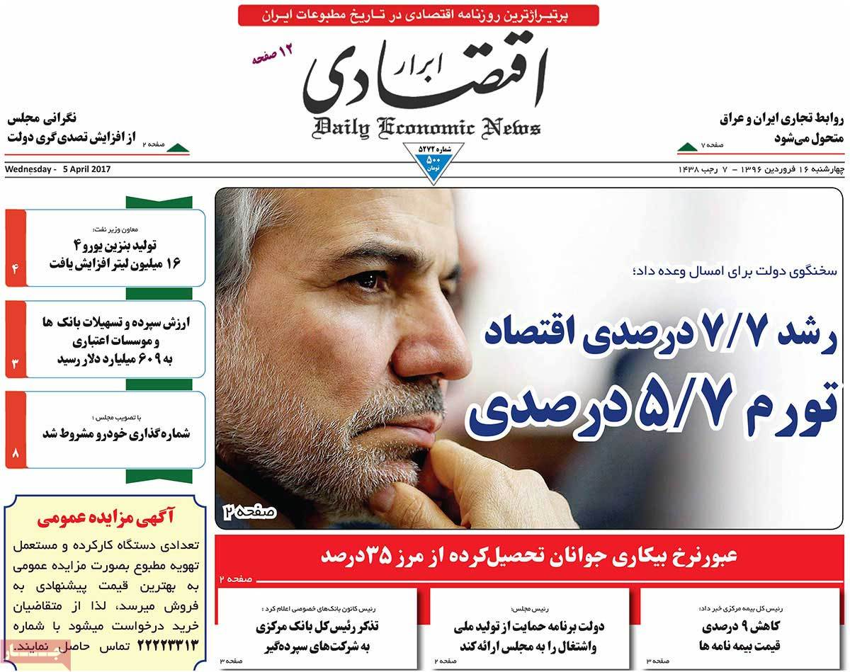 A Look at Iranian Newspaper Front Pages on April 5 - abrar egtesadi