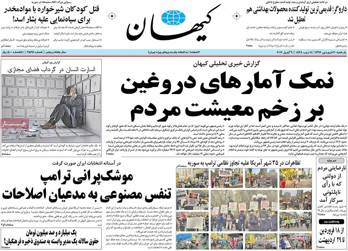 A Look at Iranian Newspaper Front Pages on April 9 - keyhan