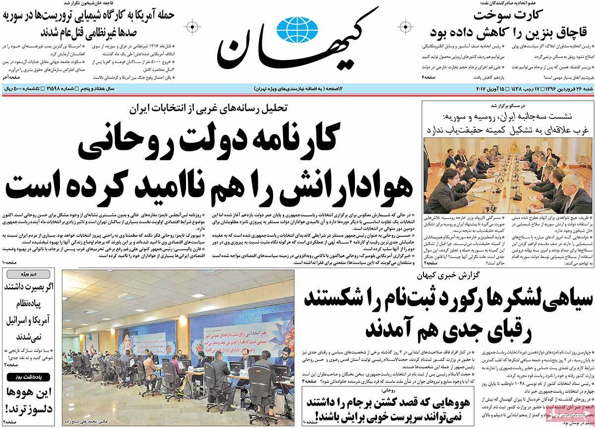 Iranian Newspaper Front Pages on April 15- Kayhan