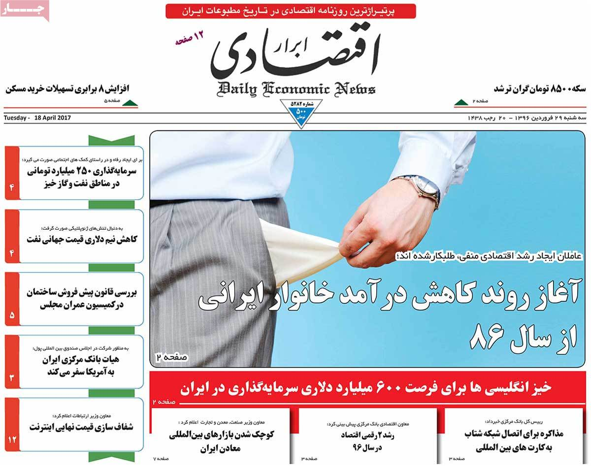 A Look at Iranian Newspaper Front Pages on April 18 - abrar eghtesadi