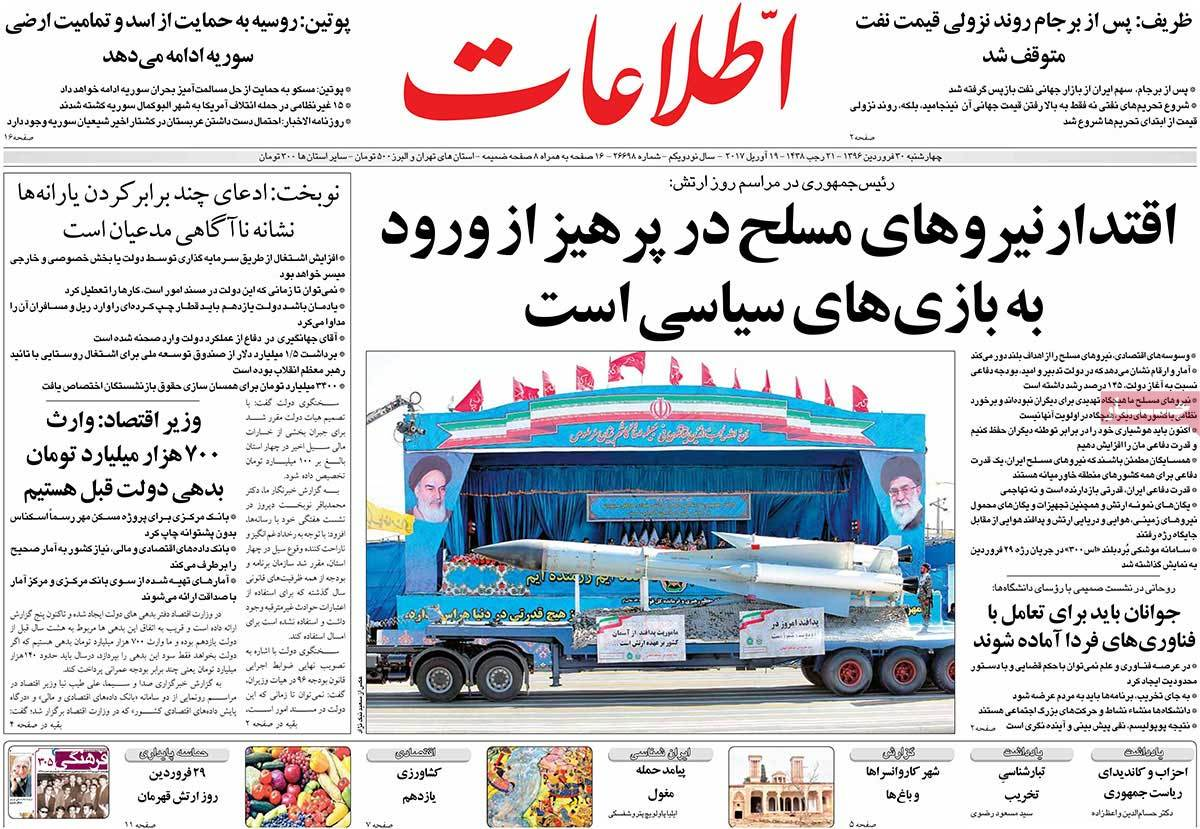 A Look at Iranian Newspaper Front Pages on April 19 - etelaat