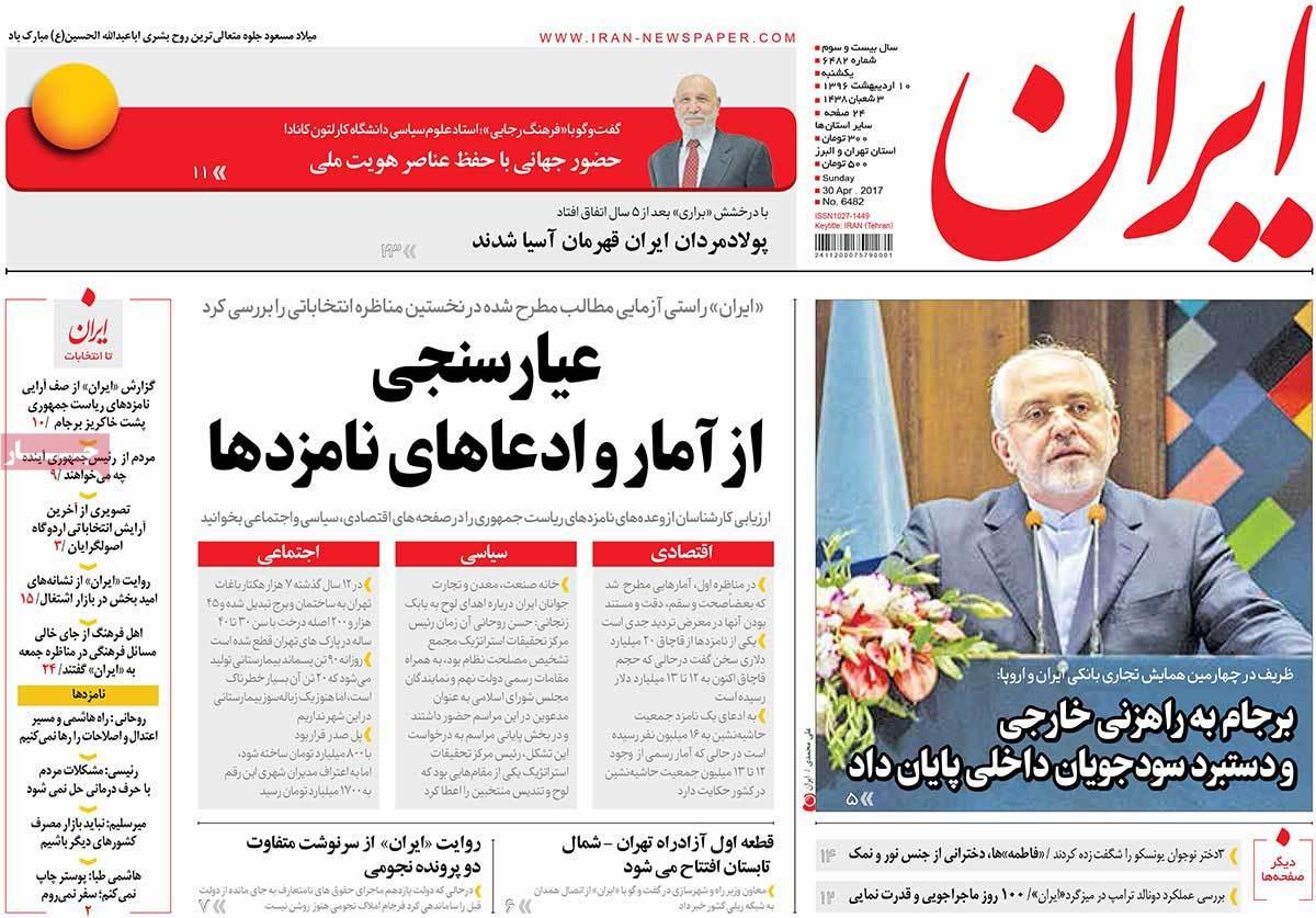 ابرز عناوين صحف ايران ، الأحد 30 أبريل 2017 - ایران
