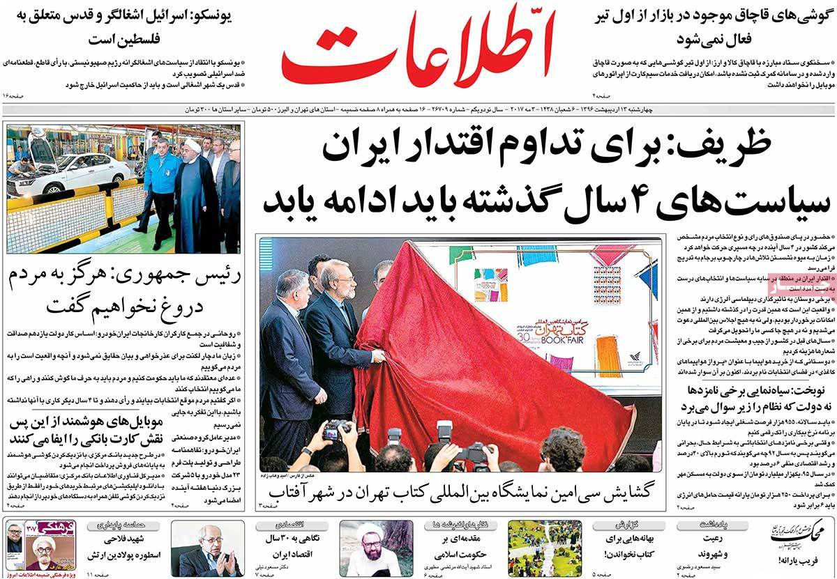 Iranian Newspaper Front Pages on May 3