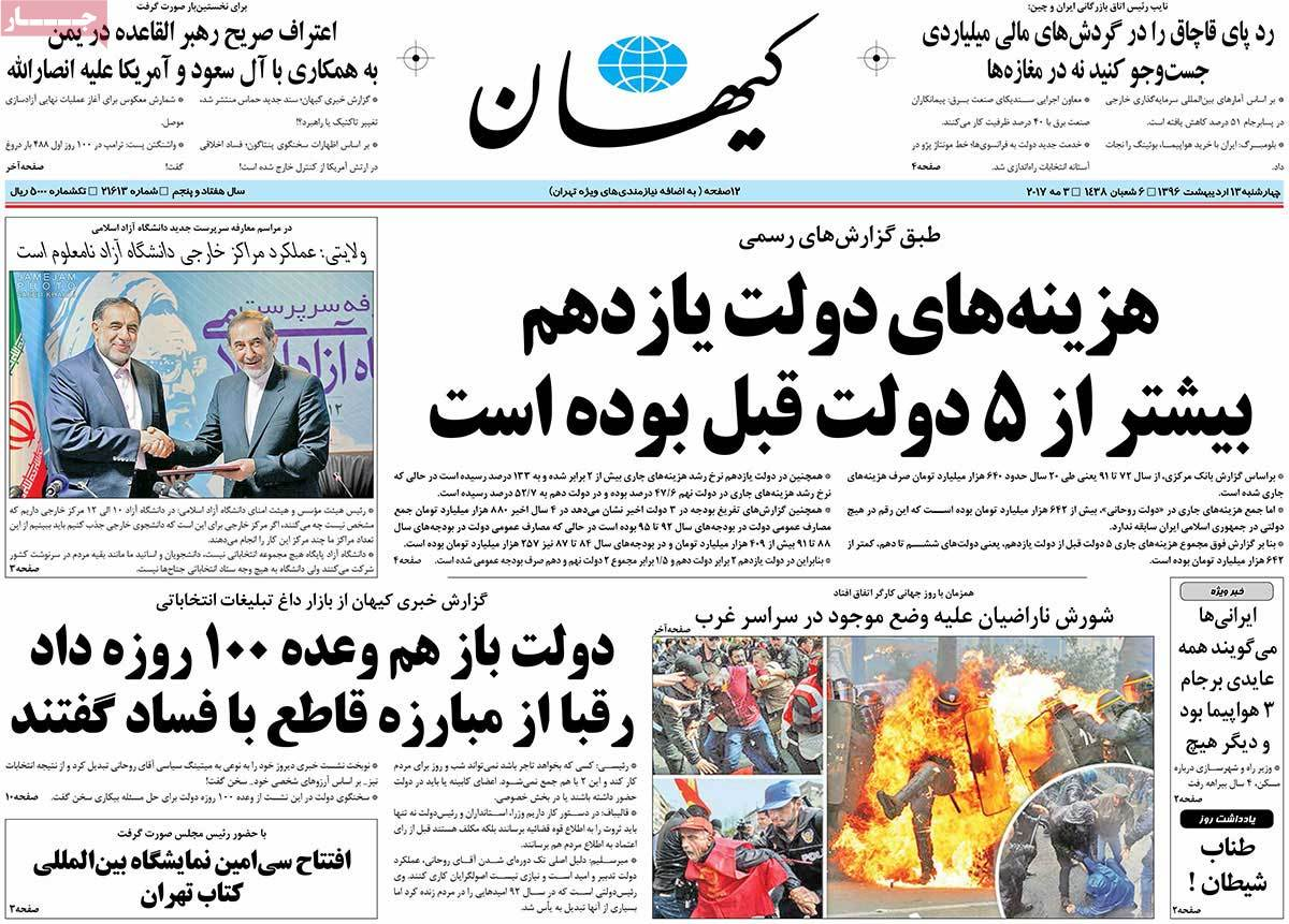 Iranian Newspaper Front Pages on May 3- Kayhan