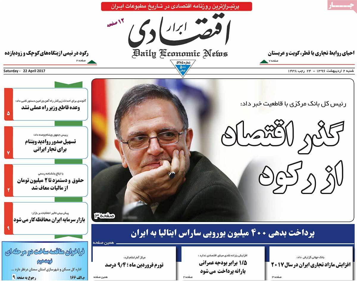 A Look at Iranian Newspaper Front Pages on April 22 - abrar eghtesadi