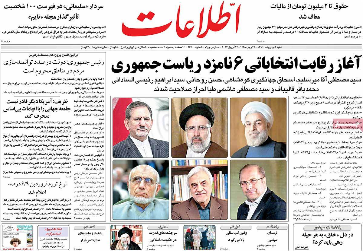 A Look at Iranian Newspaper Front Pages on April 22 -etelaat