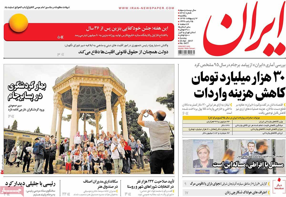 A Look at Iranian Newspaper Front Pages on April 23 - iran