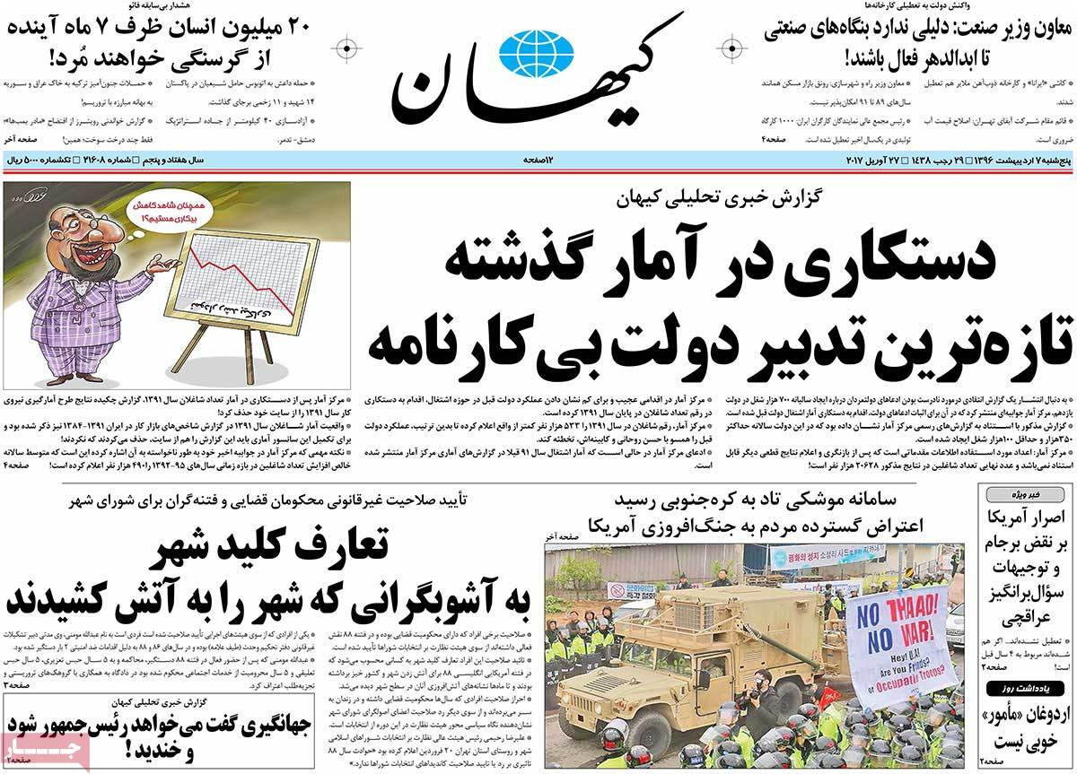 A Look at Iranian Newspaper Front Pages on April 27 - keyhan