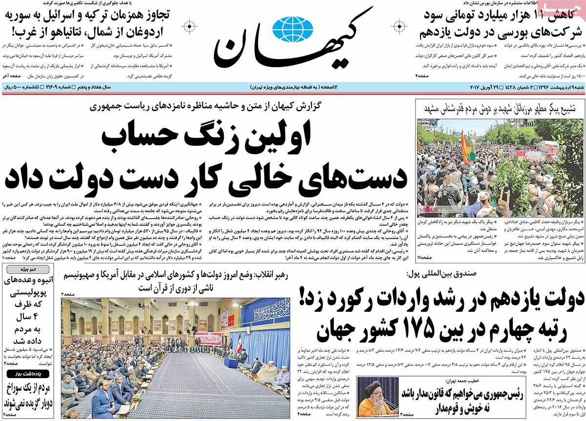 A Look at Iranian Newspaper Front Pages on April 29 - keyhan