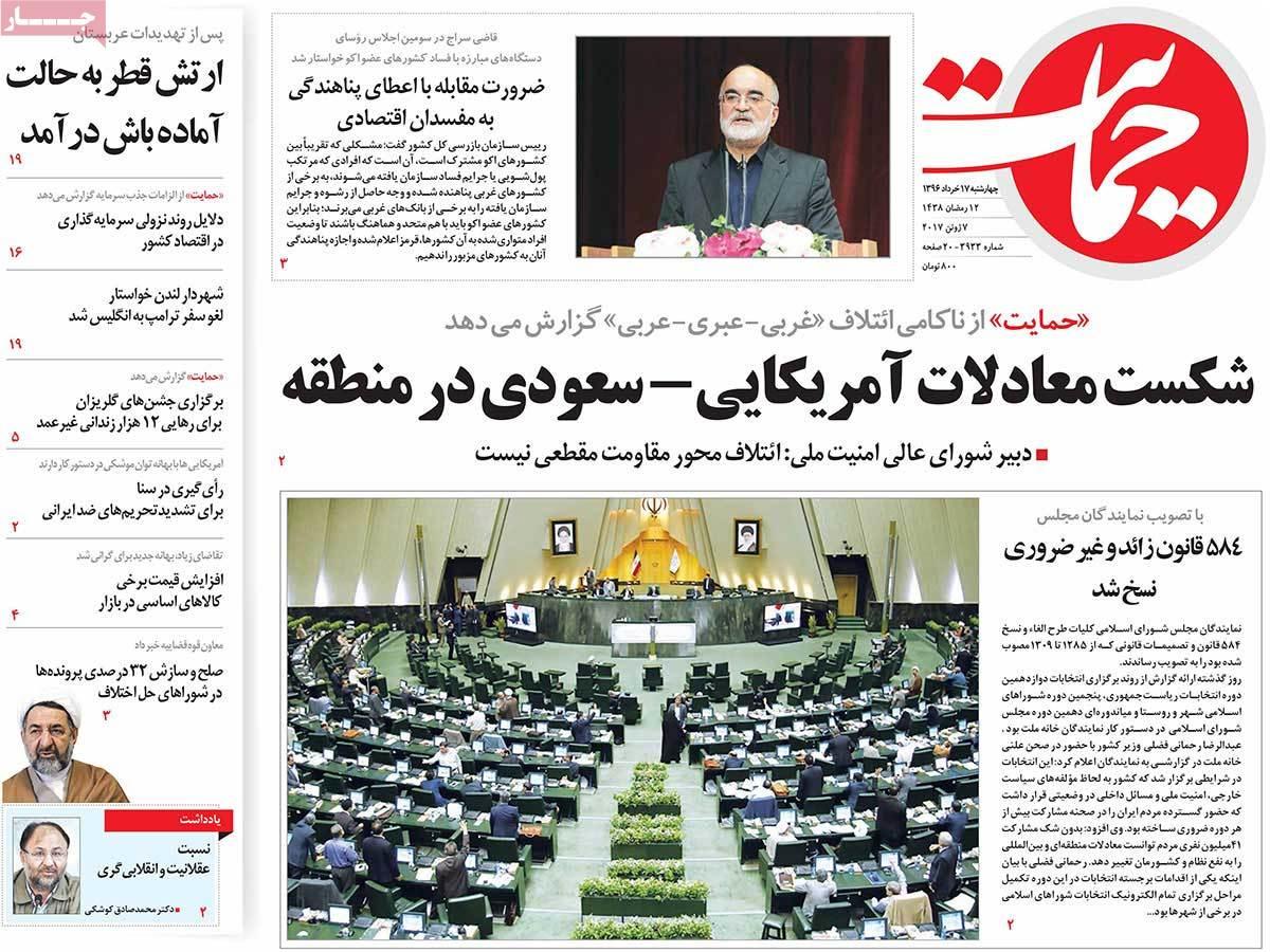 أبرز عناوين صحف ايران ، الأربعاء 7 حزيران / يونيو 2017 - حمایت