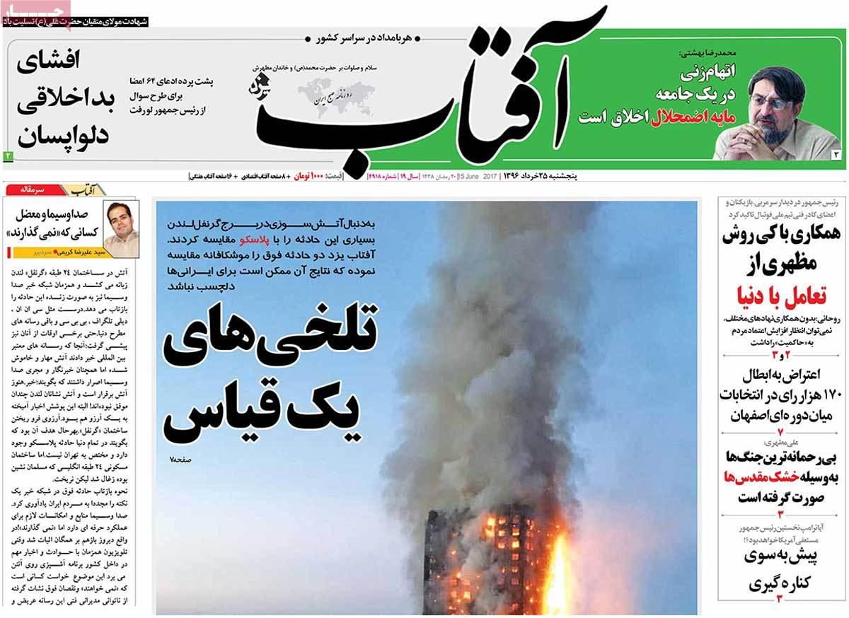 أبرز عناوين صحف ايران ، الخميس 15 يونيو / حزيران 2017 - افتاب