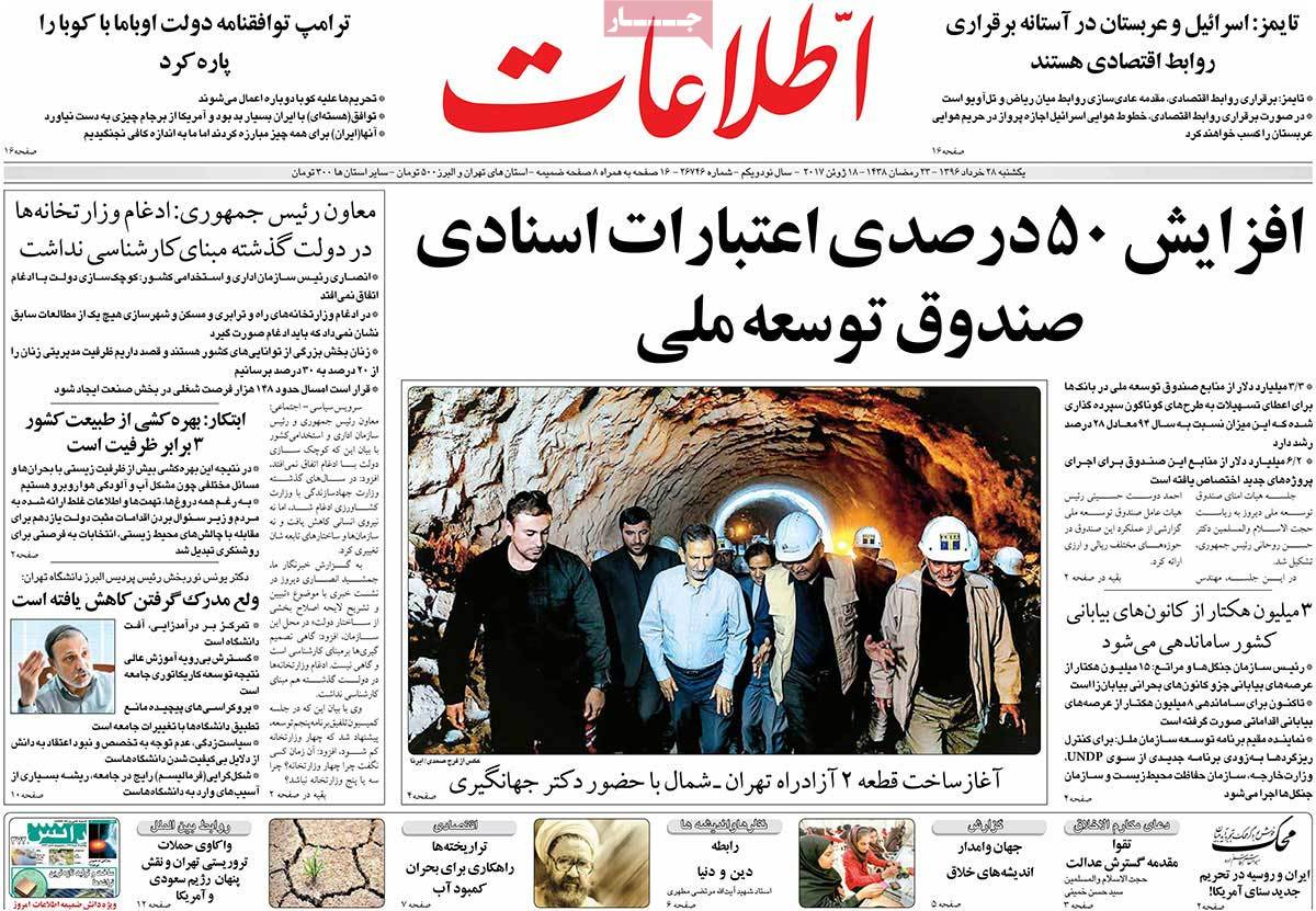 A Look at Iranian Newspaper Front Pages on June 18 - etelaat