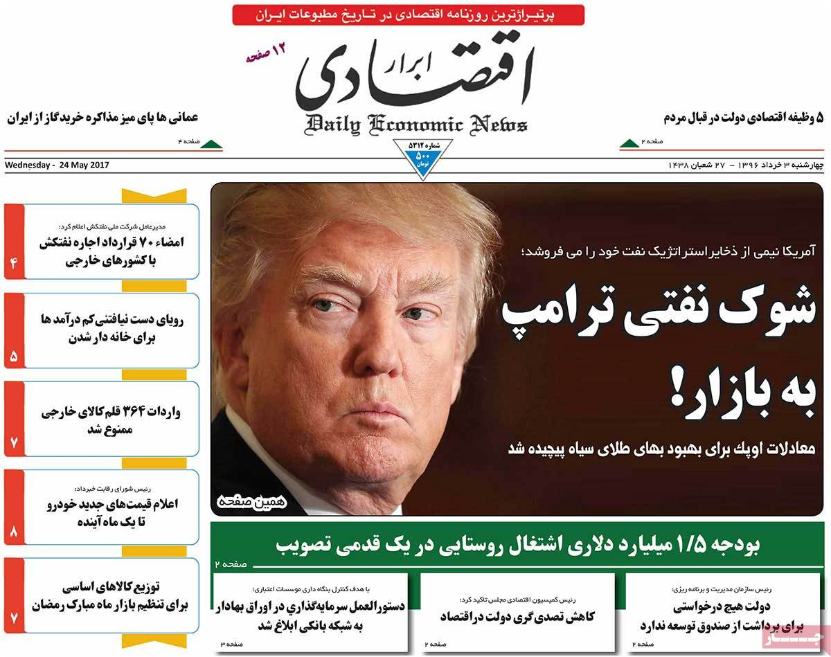 A Look at Iranian Newspaper Front Pages on May 24