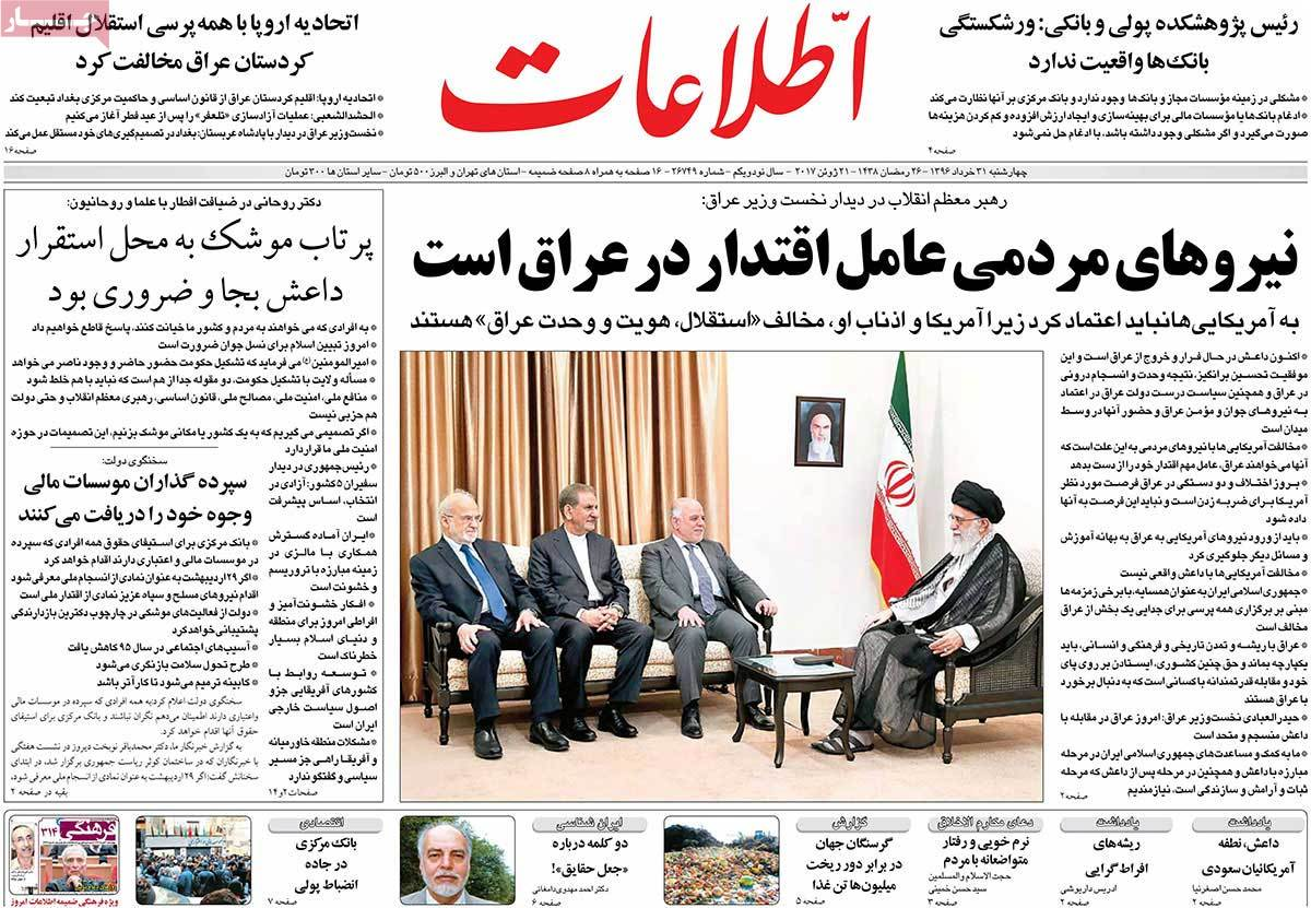 A Look at Iranian Newspaper Front Pages on June 21 - etelat