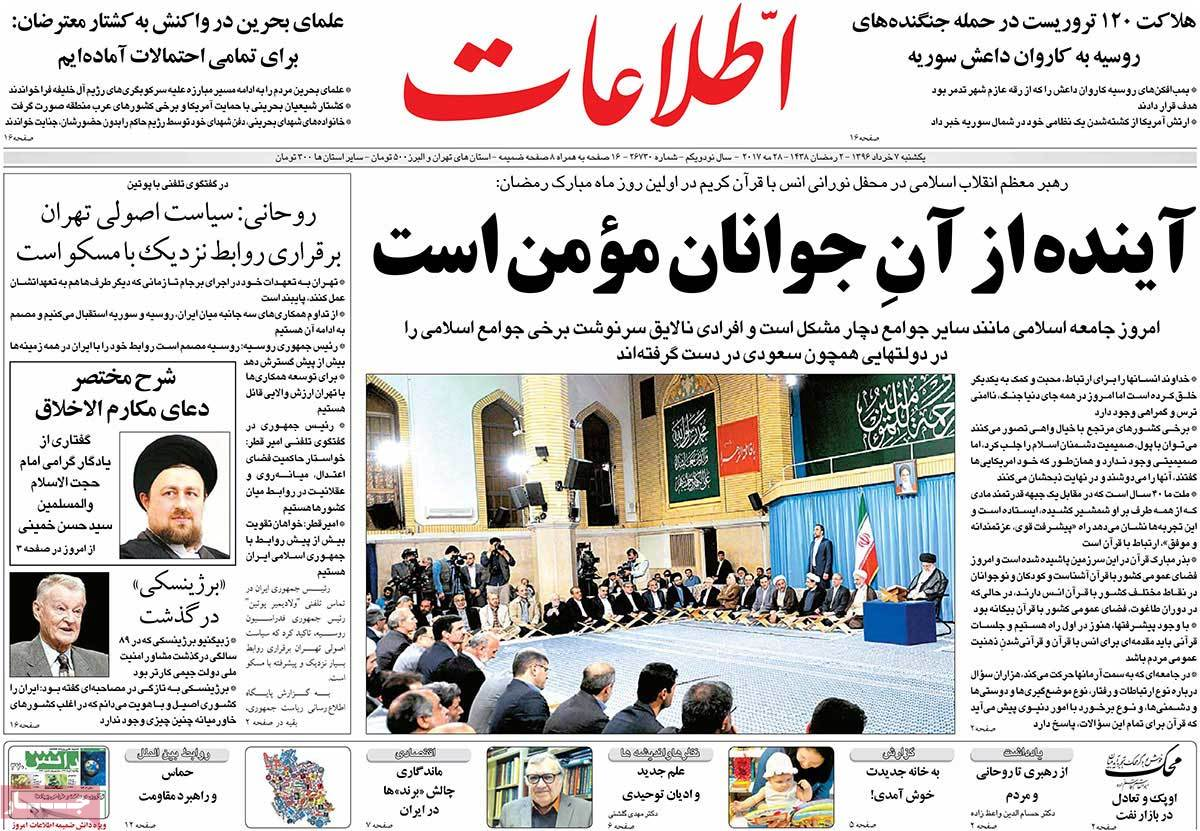 A Look at Iranian Newspaper Front Pages on May 28 - etelaat