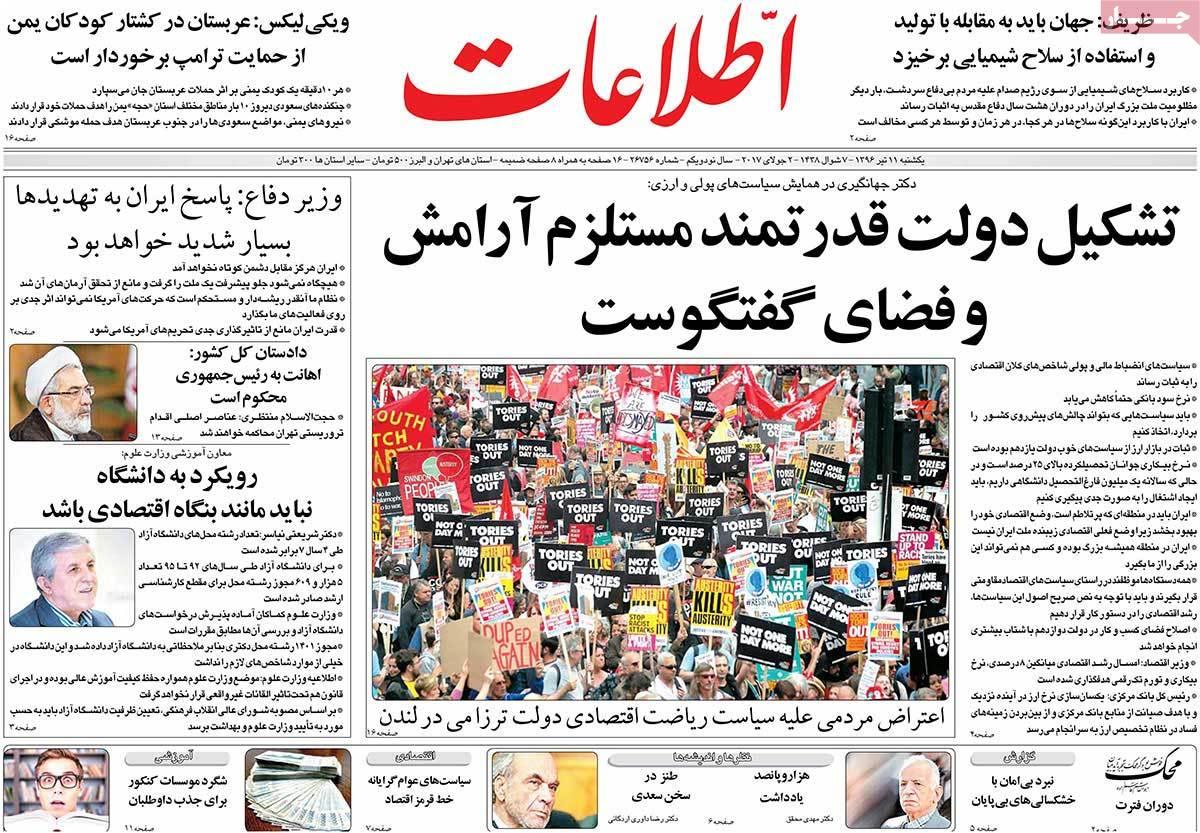 أبرز عناوين صحف ايران ، الأحد 2 يوليو / تموز 2017  - اطلاعات