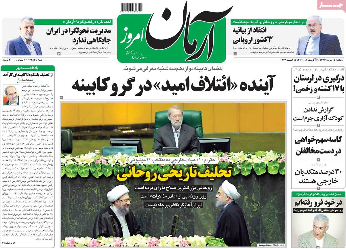 Iranian Newspapers Widely Cover Rouhani's Inauguration -arman