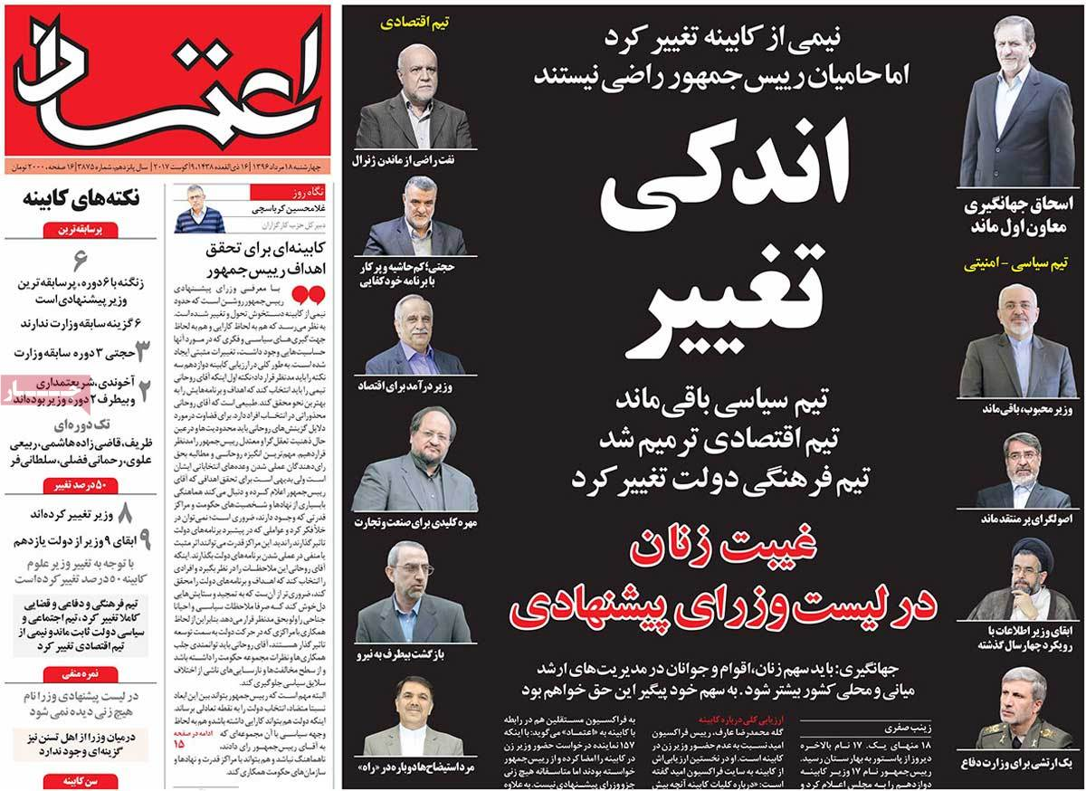 A Look at Iranian Newspaper Front Pages on August 9 -etemad