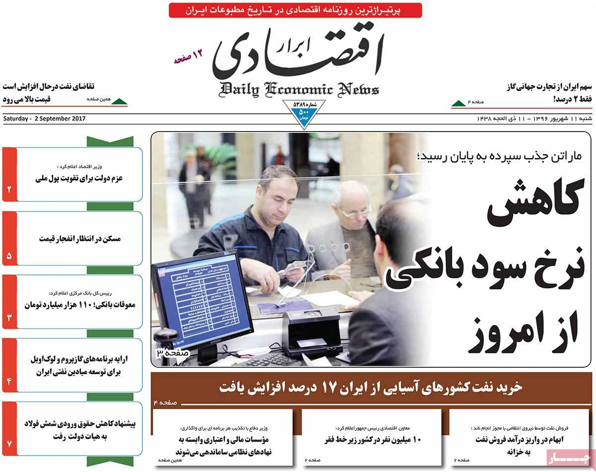 A Look at Iranian Newspaper Front Pages on September 2 - abrar egtesadi