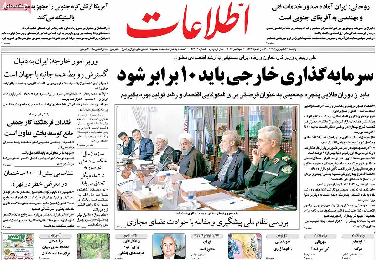 A Look at Iranian Newspaper Front Pages on September 3 - etelaat
