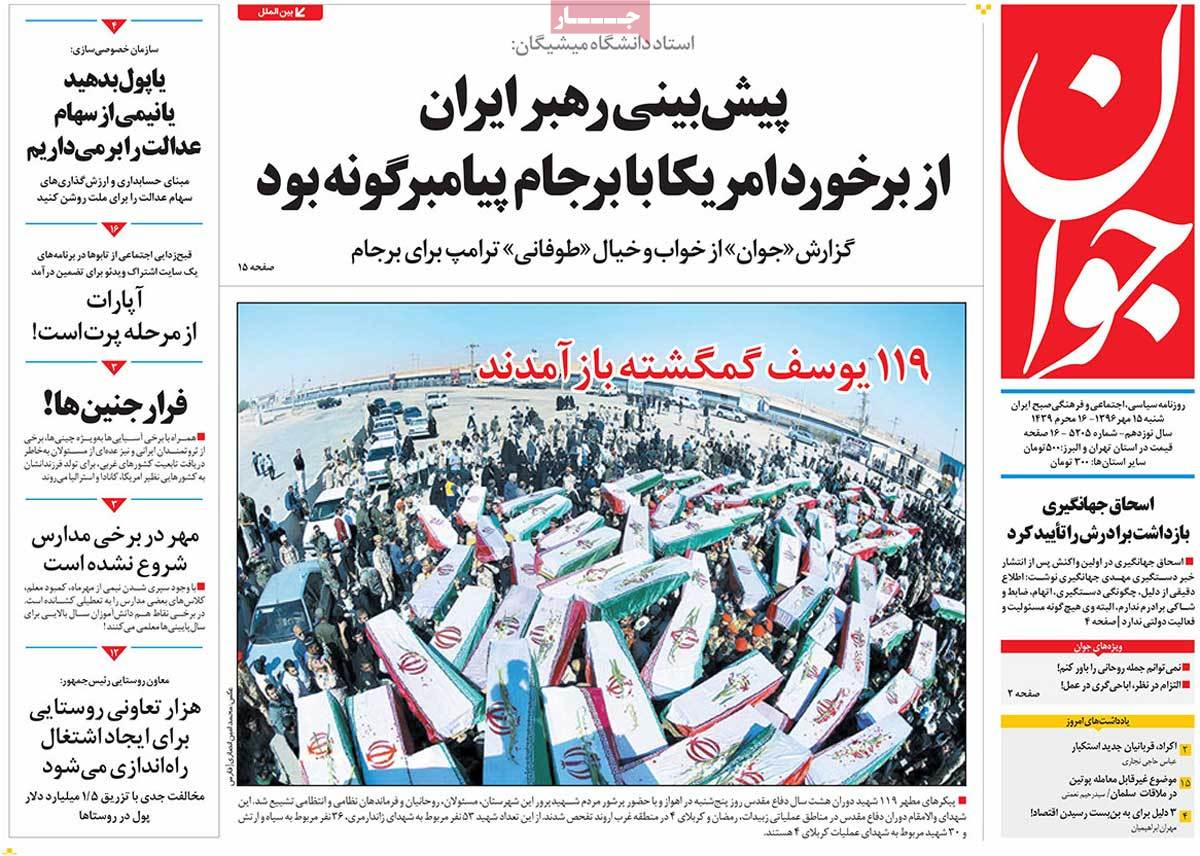 A Look at Iranian Newspaper Front Pages on October 7