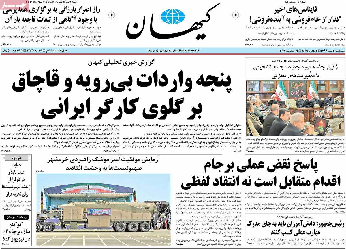 A Look at Iranian Newspaper Front Pages on September 24